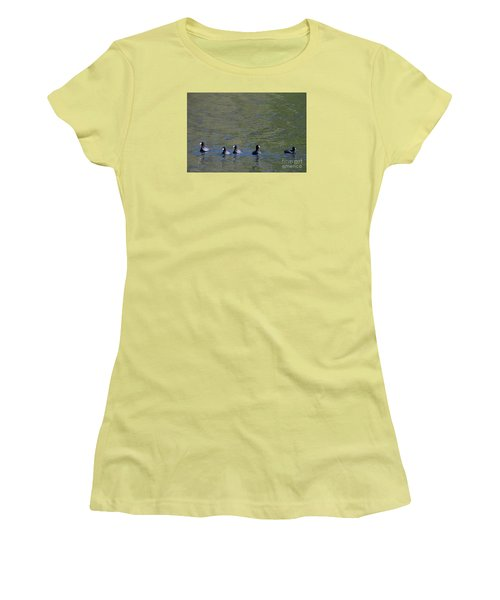 American Coots 20120405_280a Women's T-Shirt (Junior Cut) by Tina Hopkins