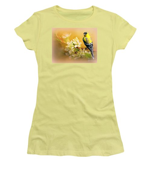 American Goldfinch In The Flowers Women's T-Shirt (Junior Cut) by Myrna Bradshaw