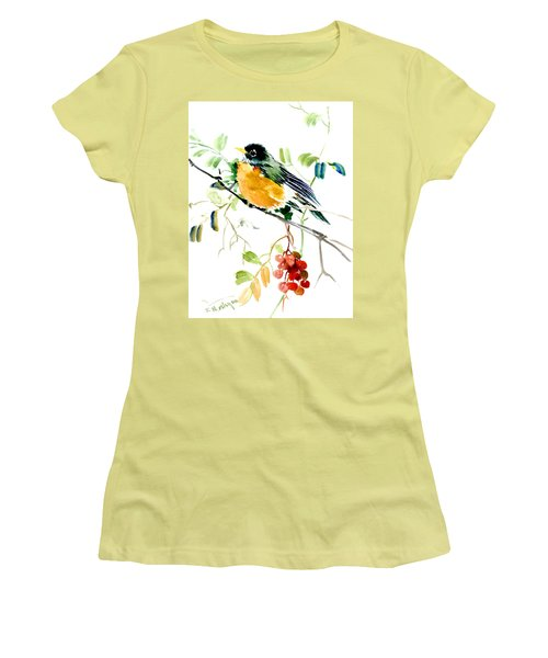 American Robin Women's T-Shirt (Junior Cut) by Suren Nersisyan