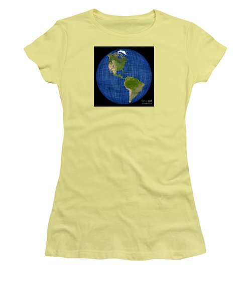 Americas On A Globe The Western Hemisphere Women's T-Shirt (Athletic Fit)
