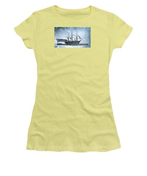 Amerigo Vespucci Sailboat In Blue Women's T-Shirt (Junior Cut) by Pedro Cardona