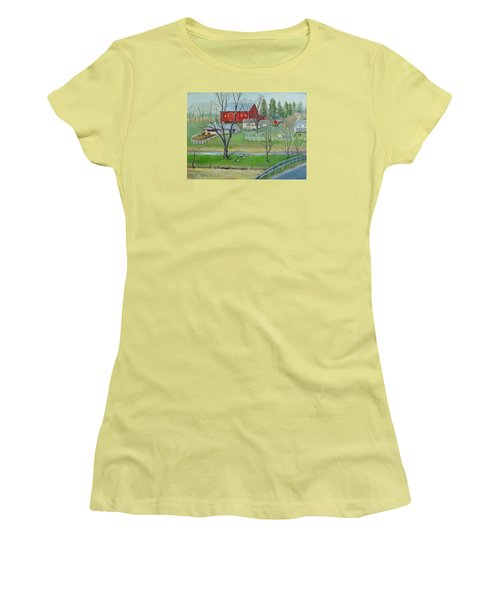 Women's T-Shirt (Junior Cut) featuring the painting Amish Farm by Oz Freedgood