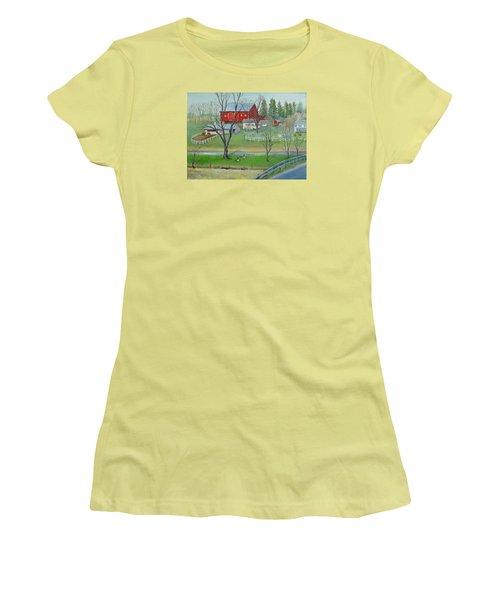 Amish Farm Women's T-Shirt (Junior Cut) by Oz Freedgood