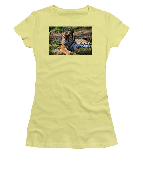Women's T-Shirt (Junior Cut) featuring the mixed media Amur Tiger 8 by Angelina Vick