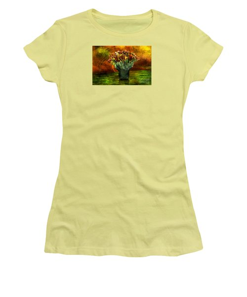 Women's T-Shirt (Junior Cut) featuring the digital art An Armful Of Tulips by Johnny Hildingsson