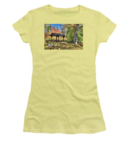 Women's T-Shirt (Junior Cut) featuring the photograph An Autumn Picnic In Maine by Shelley Neff