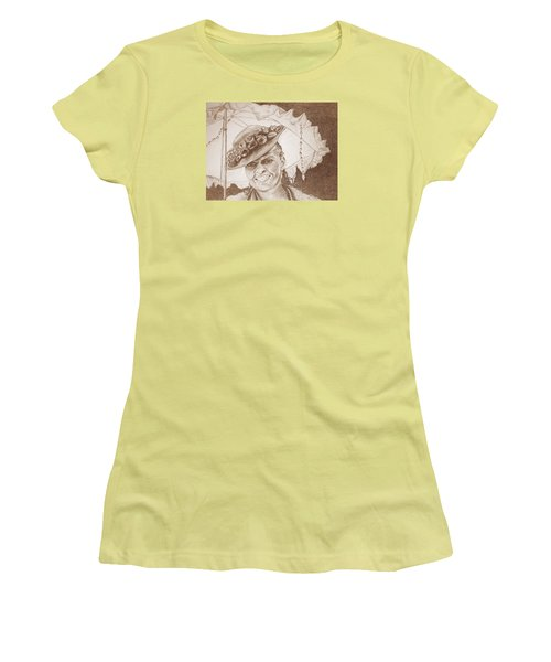 An Old Fashioned Girl In Sepia Women's T-Shirt (Junior Cut) by Antonia Citrino