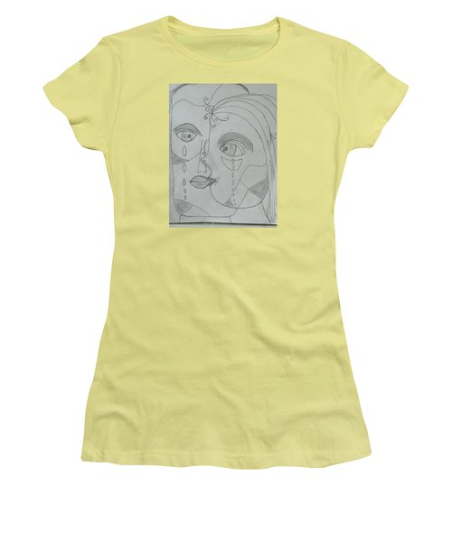 Women's T-Shirt (Junior Cut) featuring the drawing And Then They Parted by Sharyn Winters