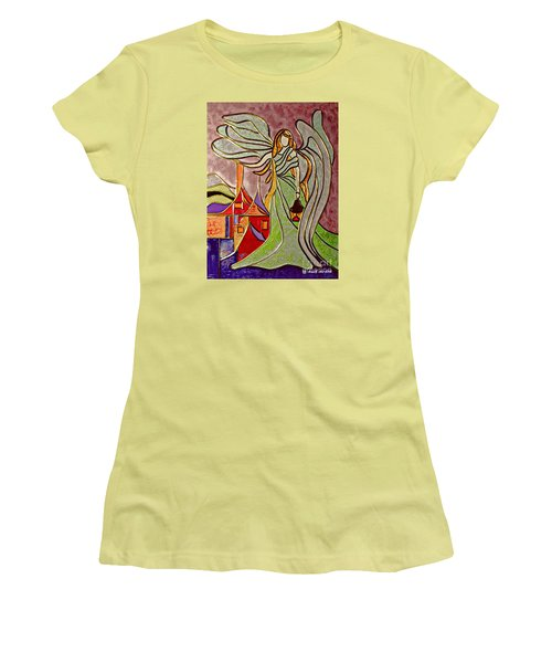 Women's T-Shirt (Junior Cut) featuring the painting Angel  by AmaS Art