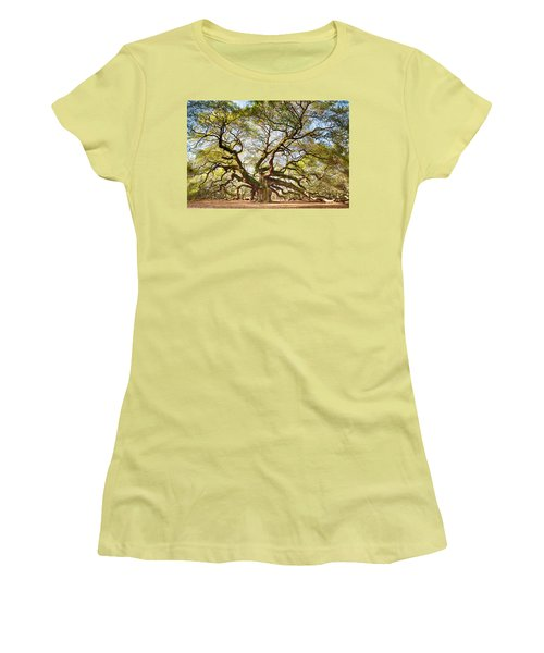 Women's T-Shirt (Junior Cut) featuring the photograph Angel Oak In Spring by Patricia Schaefer