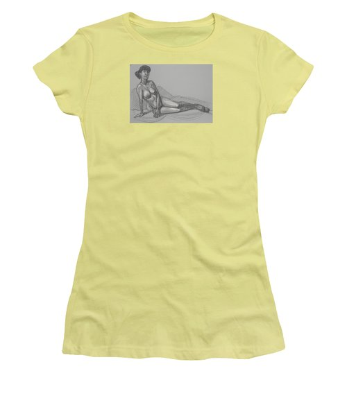 Women's T-Shirt (Junior Cut) featuring the drawing Angela Reclining   by Donelli  DiMaria