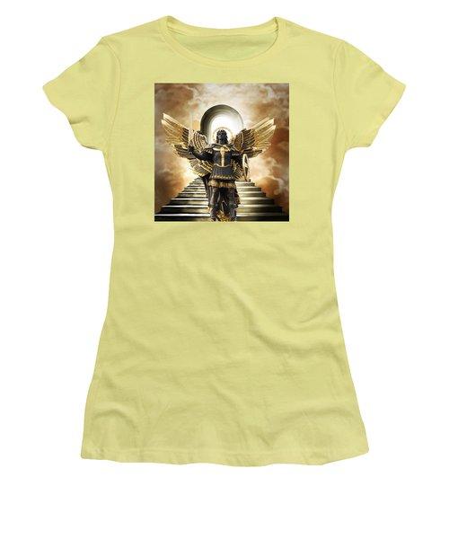 Women's T-Shirt (Junior Cut) featuring the digital art Angels Watching Over Me by Karen Showell