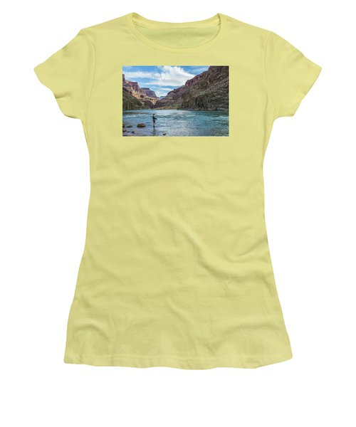Women's T-Shirt (Junior Cut) featuring the photograph Angling On The Colorado by Alan Toepfer
