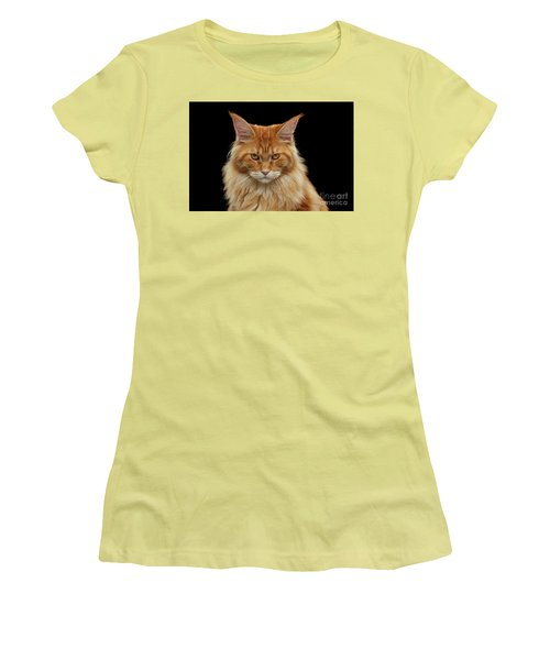 Angry Ginger Maine Coon Cat Gazing On Black Background Women's T-Shirt (Junior Cut) by Sergey Taran