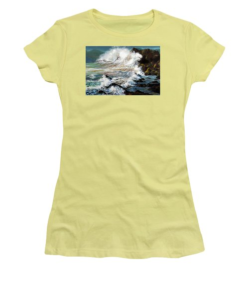 Women's T-Shirt (Junior Cut) featuring the painting Angry Sea by Walter Fahmy