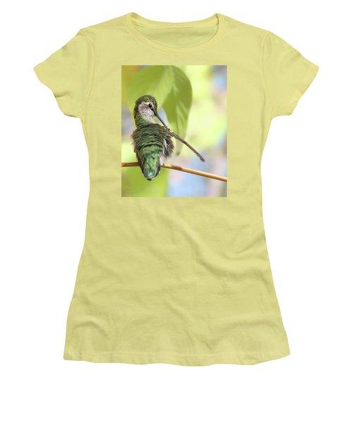 Anna's Hummingbird - Preening Women's T-Shirt (Junior Cut) by Nikolyn McDonald