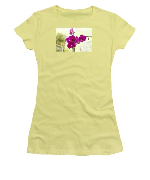 Women's T-Shirt (Junior Cut) featuring the photograph Anniversary Orchids by Joan Bertucci