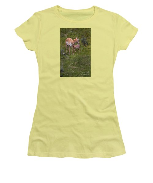 Antelope And Baby-signed-#3576 Women's T-Shirt (Junior Cut) by J L Woody Wooden