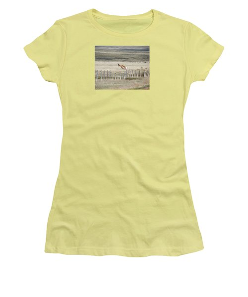 Women's T-Shirt (Junior Cut) featuring the photograph Antelope Jumping Fence 2 by Rebecca Margraf