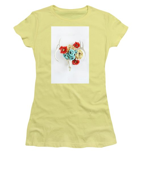 Women's T-Shirt (Junior Cut) featuring the photograph Antlers And Florals by Stephanie Frey