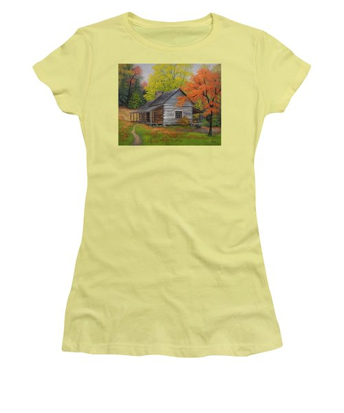 Women's T-Shirt (Junior Cut) featuring the painting Appalachian Retreat-autumn by Kyle Wood