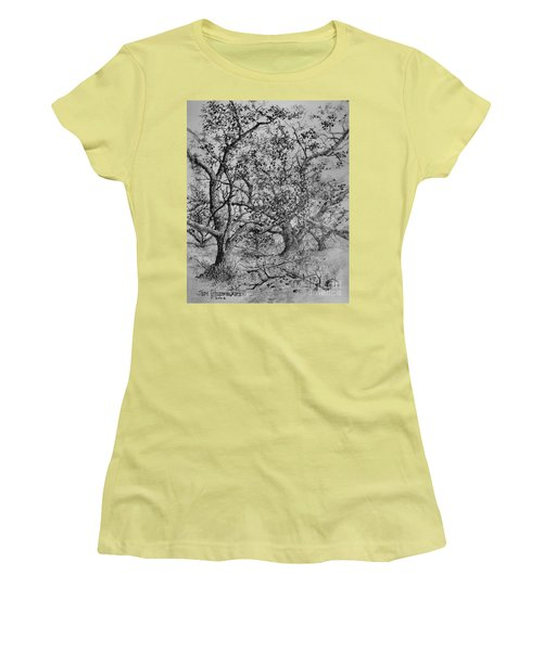 Women's T-Shirt (Junior Cut) featuring the drawing Apple Orchard by Jim Hubbard
