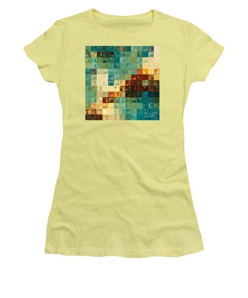 Aqua Tile Mosaic. Modern Mosaic Tile Art Painting Women's T-Shirt (Athletic Fit)