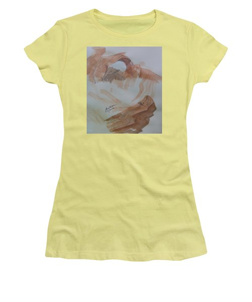Women's T-Shirt (Athletic Fit) featuring the painting Arch Rock - Sketchbook Doodle by Joel Deutsch