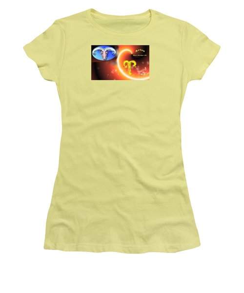 Women's T-Shirt (Junior Cut) featuring the painting Aries by The Art of Alice Terrill