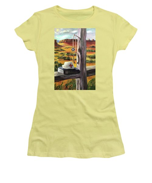 Women's T-Shirt (Junior Cut) featuring the painting Arizona The Nurse And Hope by Randol Burns