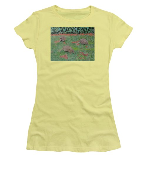 Women's T-Shirt (Junior Cut) featuring the painting Armadillos In The Yard by Hilda and Jose Garrancho