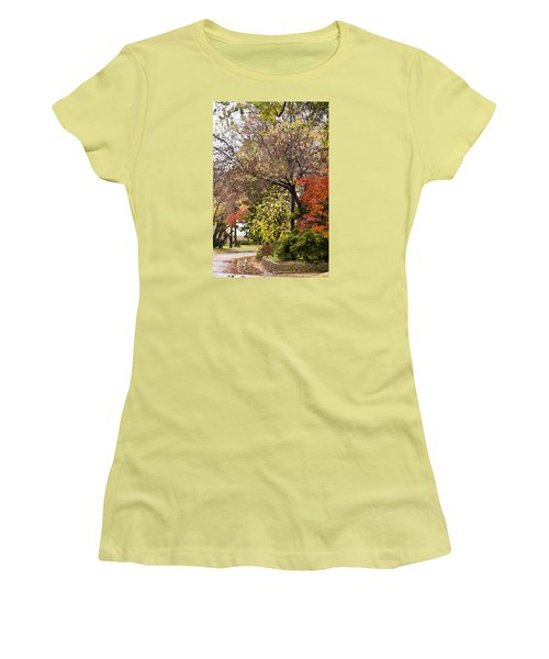 Women's T-Shirt (Junior Cut) featuring the photograph Around The Corner by Joan Bertucci