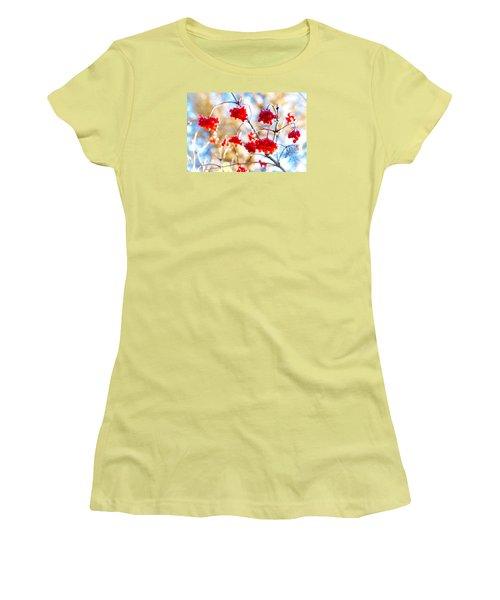 Women's T-Shirt (Junior Cut) featuring the photograph Arrowwood Berries by Alexander Senin