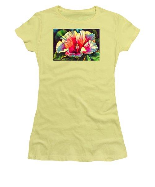 Art Floral Interior Design On Canvas Women's T-Shirt (Junior Cut) by Catherine Lott