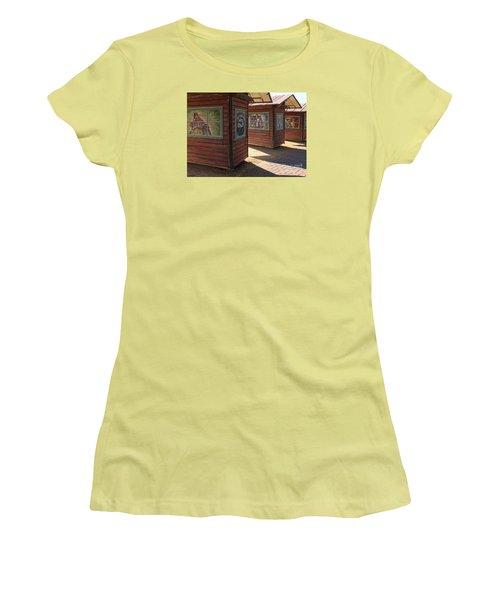 Women's T-Shirt (Junior Cut) featuring the photograph Art Shacks Old Town by Cheryl Del Toro