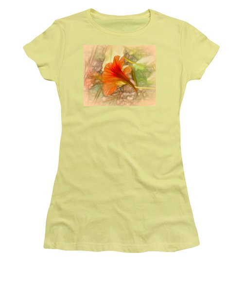 Artistic Red And Orange Women's T-Shirt (Athletic Fit)