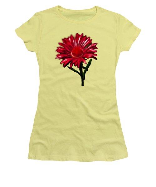 Red Daisy Women's T-Shirt (Junior Cut) by Shane Bechler