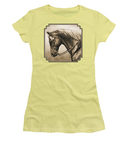 Western Horse Painting In Sepia Women's T-Shirt (Junior Cut)