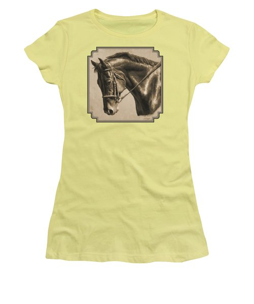 Horse Painting - Focus In Sepia Women's T-Shirt (Athletic Fit)