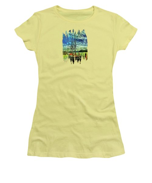 Women's T-Shirt (Junior Cut) featuring the photograph Cape Foulweather Tall Ship by Thom Zehrfeld