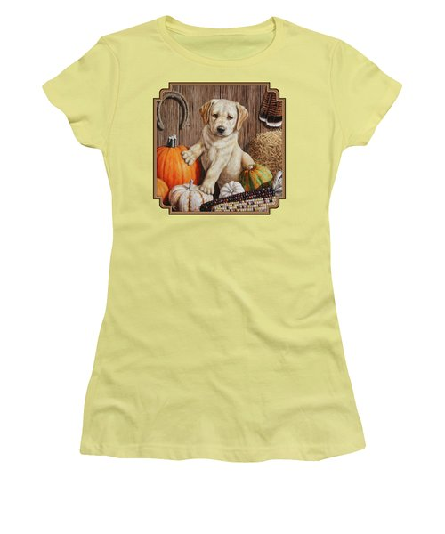Pumpkin Puppy Women's T-Shirt (Junior Cut) by Crista Forest