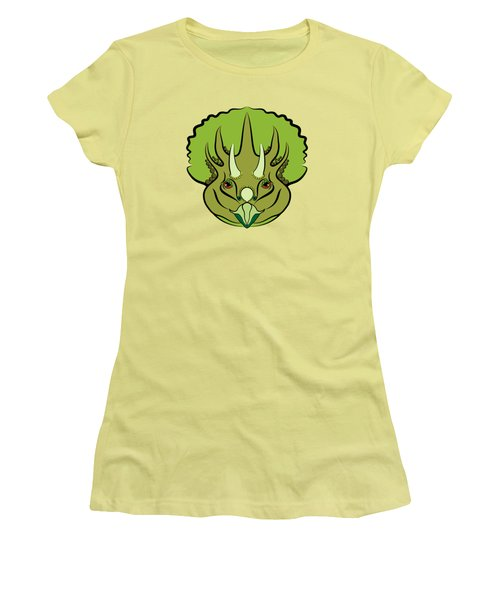 Triceratops Graphic Green Women's T-Shirt (Junior Cut) by MM Anderson