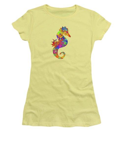 Seahorse Watercolor Art Women's T-Shirt (Athletic Fit)