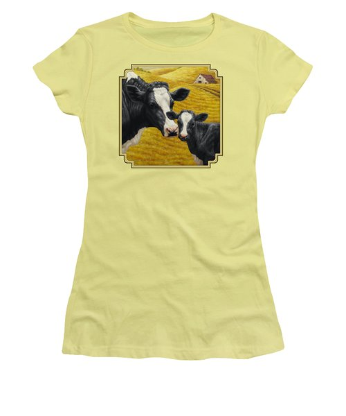 Holstein Cow And Calf Farm Women's T-Shirt (Junior Cut) by Crista Forest