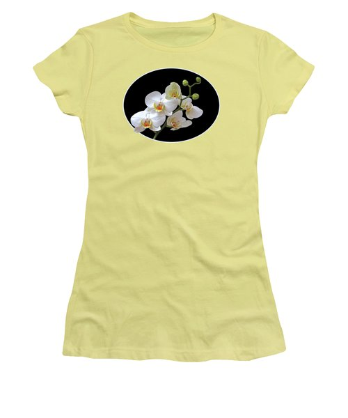 Orchids On Black And Gold Women's T-Shirt (Junior Cut) by Gill Billington