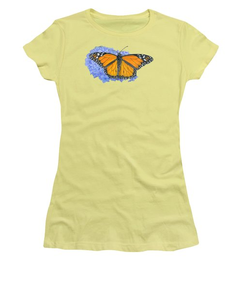 Monarch Butterfly And Hydrangea- Transparent Background Women's T-Shirt (Junior Cut) by Sarah Batalka