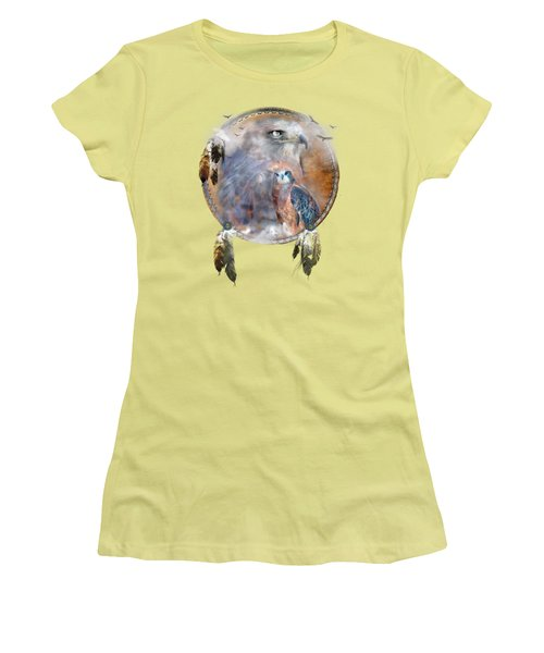 Women's T-Shirt (Athletic Fit) featuring the mixed media Dream Catcher - Hawk Spirit by Carol Cavalaris