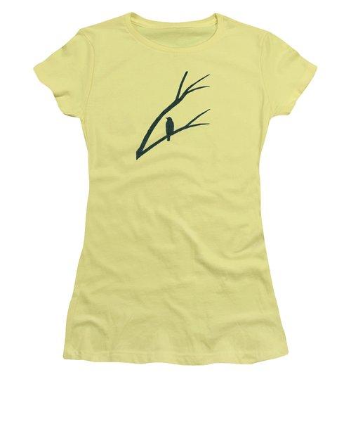 Green Bird Silhouette Plaid Bird Art Women's T-Shirt (Athletic Fit)