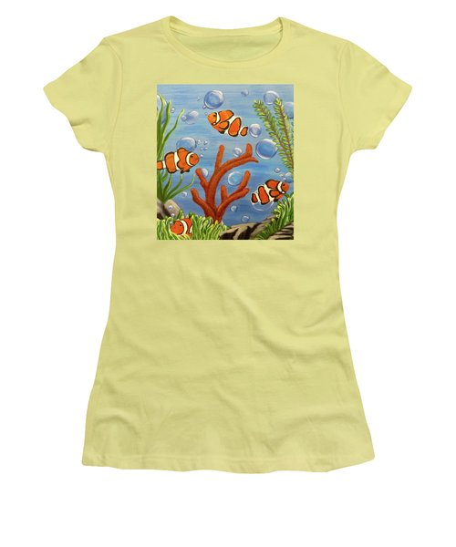 Women's T-Shirt (Athletic Fit) featuring the painting Clowning Around by Teresa Wing