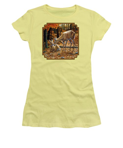 Whitetail Deer - Autumn Innocence 2 Women's T-Shirt (Junior Cut) by Crista Forest